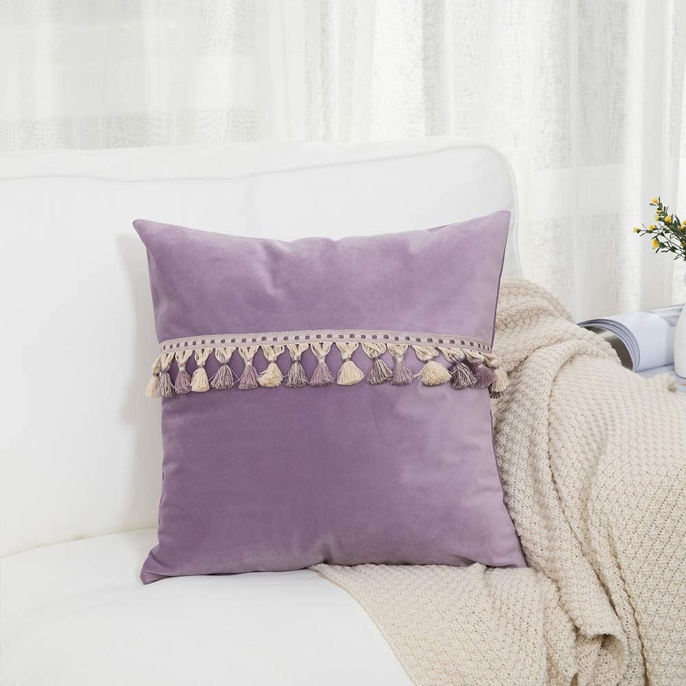 blue page Velvet Decorative Throw Pillow Covers for Couch Sofa Bed, Solid Color Soft Square Pillowcase with Tassels Fringe, Home Decor Accent Pillow Case, 18 x 18 Inch, Purple