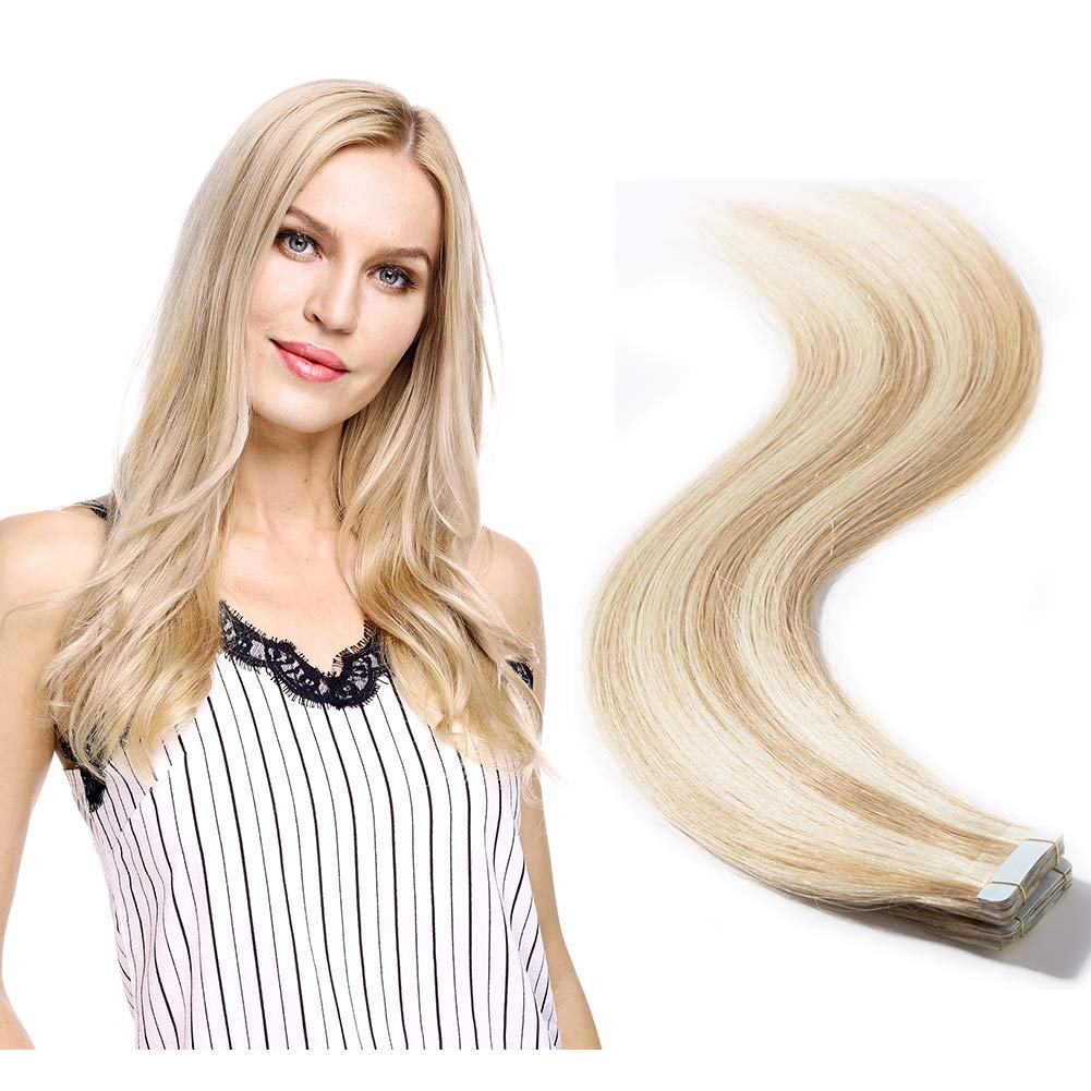 """Balayage Color Rooted Tape in Extensions Human Hair Highlight Highlighted 40pcs Double Side Tape Seamless Skin Weft Straight 2.5g/pcs(24""""/24 inch 100g,#18/613 Light Ash Brown mix Bleach Blonde)"""
