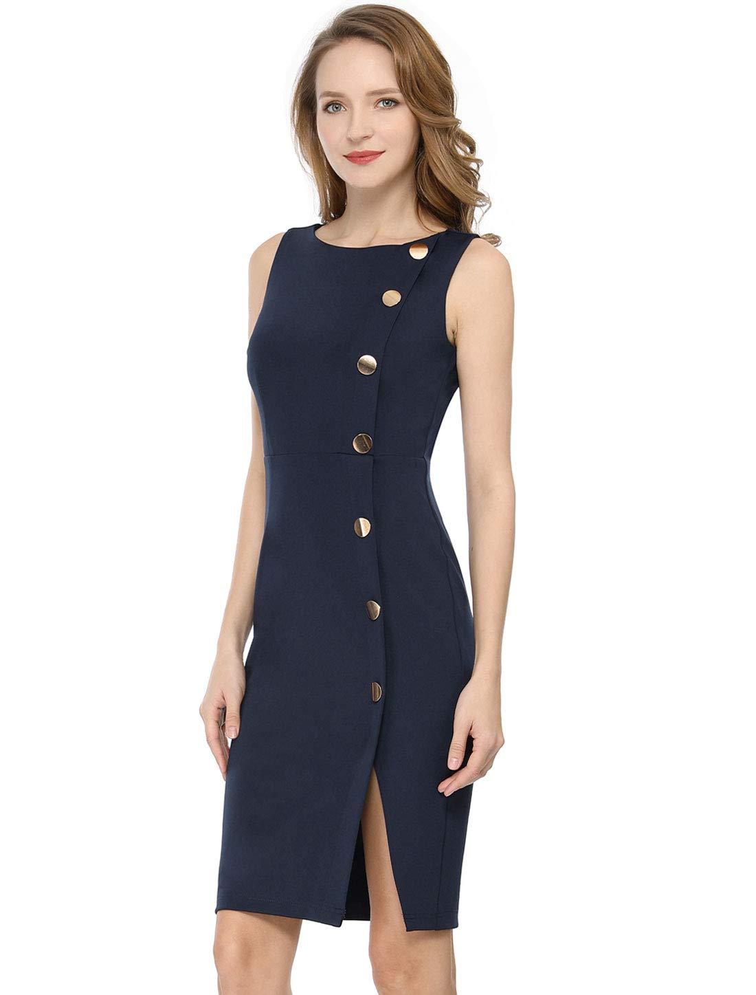 Allegra K Women's Button Decor Sleeveless Slit Stretchy Office Bodycon Sheath Dress
