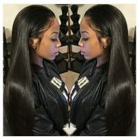 Straight Human Hair Wigs, VIPbeauty 150% Density Virgin Brazilian Straight Human Hair Lace Front Wigs for Black Women Glueless Lace Frontal Wig Pre Plucked with Baby Hair(24 Inch, Nature Color)