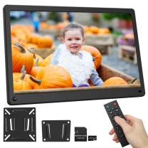 Digital Picture Frame 15.6 Inch 1920x1080 16:9 IPS Screen Include 32GB SD Card HD Video Frame, Photo Auto Rotate, Background Music, Auto Time On/Off, Calendar, Alarm Clock, Motion Sensor(Black)