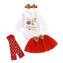 Infant Baby Girls Valentine's Tulle Skirt Outfit 3Pcs Set Tutu Dress My First Valentine's Day