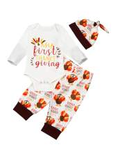 My First Thanksgiving Baby Boy Girls Clothes Long Sleeve Turkey Romper Turkey Pumpkin Pants + Headband & Hat Outfits Set