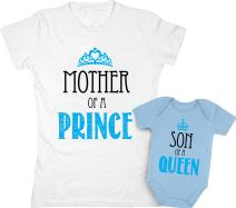 Mother of a Prince & Son of a Queen Mommy And Baby Boy Matching Set Shirt Bodysuit Clothing Baby 6M / Women Small, Women White / Baby Aqua