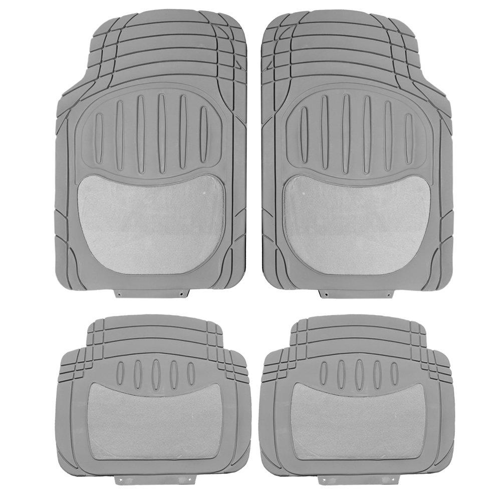 U.A.A. INC. Premium Heavy Duty Charcoal Gray Rubber & Semi Carpeted Universal Car Van Truck Floor Mats Set
