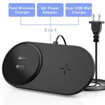 seenda Fast Wireless Charger with Dual USB, 26W Wireless Charging Pad with Built-in Adapter Compatible with iPhone 11/11 Pro/11 Pro Max/XS MAX/XR/XS/8Plus, Galaxy S10/S9/S8, Note 10/9/8-Black