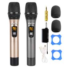 Wireless Microphone, UHF Dual Metal Handheld Dynamic Mic System with Rechargeable Receiver, 164ft Range, for Karaoke, Wedding, Party, Speech, Meeting, PA System
