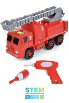 Take Apart Fire Truck with Sounds Build Your Own Fire Engine Educational STEM Toys for Toddlers, Engineering Building Kit Ages 3 to 6 Kids Early Learning Toy Tools, Power Drill, 44 Piece Set