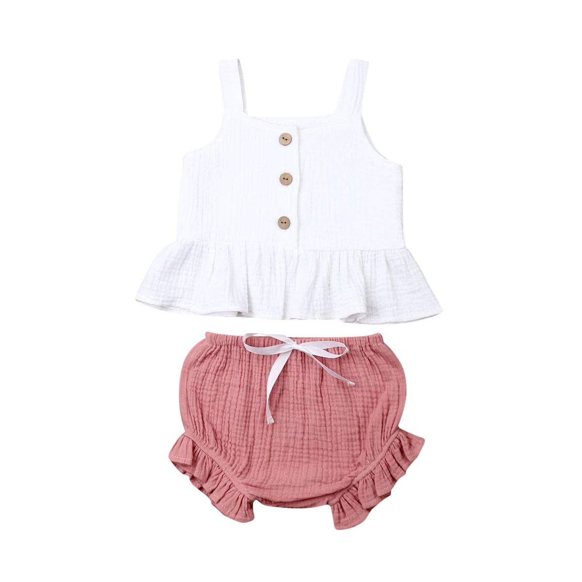 Toddler Kids Baby Girl Cotton Halter Ruffled Outfits Clothes Tops+Shorts 2PCS Set