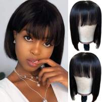 RECOOL Short Bob Wigs For Black Women Human Hair 2x5 Inch Silk Scalp Straight Wigs With Bangs Glueless Machine Made Wigs Natural Color(8 inch, 2x5 Natural Color Bob Wig)