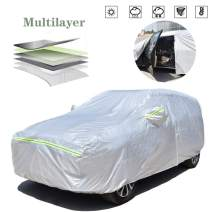 AOYMEI Full Car Cover Waterproof All Weather, Automobile Cover Sunproof Rainproof Windproof Scratch Resistant Reflective Strips Cotton Inside (SUV, fit Length (161''-167''))