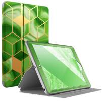Popshine Marble Series Designed for Apple iPad 10.2 (7th Generation 2019) Case, Full Body Premium Stylish 360 Degree Protective Folio Cover with Built-in Screen Protector, Liquid Marble Green