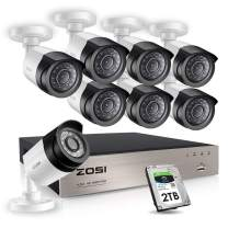ZOSI 8CH 1080P Security Cameras System with Hard Drive 2TB,8Channel 1080P CCTV DVR Recorder with 8pcs 1080P HD Indoor Outdoor 1920TVL Surveillance Cameras with Night Vision for 24/7 Recording