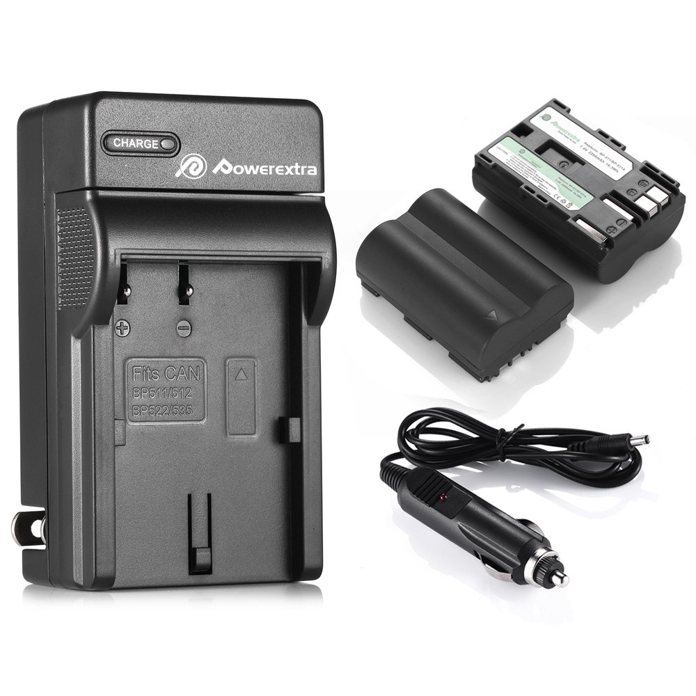 Powerextra 2 Pack Replacement Canon BP-511, BP-511A Battery and Charger Compatible with Canon EOS 5D 10D 20D 20Da 30D 40D 50D 300D D30 D60 Rebel PowerShot G1 G2 G3 G5 G6 Pro 1 Pro 90 Pro 90IS