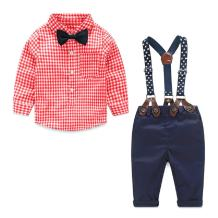 Baby Boy Suit Toddler Gentleman Outfit Plaid Tshirt Suspender Pants Fall Clothes