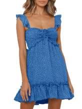 Lynwitkui Women's Mini Dress Floral Print Ruffle Hem Strappy Summer Beach Dress