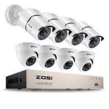 ZOSI 1080P Security Camera System 8 Channel HD-TVI Video Recorder DVR with 8 pcs 2.0-megapixel Bullet & Dome Waterproof Security Cameras, Remote Access on PC & Smartphone Day & Night Vision