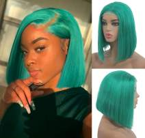 Lake Blue Lace Front Human Hair Bob Wigs for Black Women Real Remy Hair Short Lace Front Bob Wig Pre Plucked with Baby Hair Glueless Middle Part Soft Silky Straight 180% Density 10 Inch