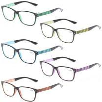 Kerecsen 5 Pack Fashion Reading Glasses Spring Hinge With Stylish Pattern Readers