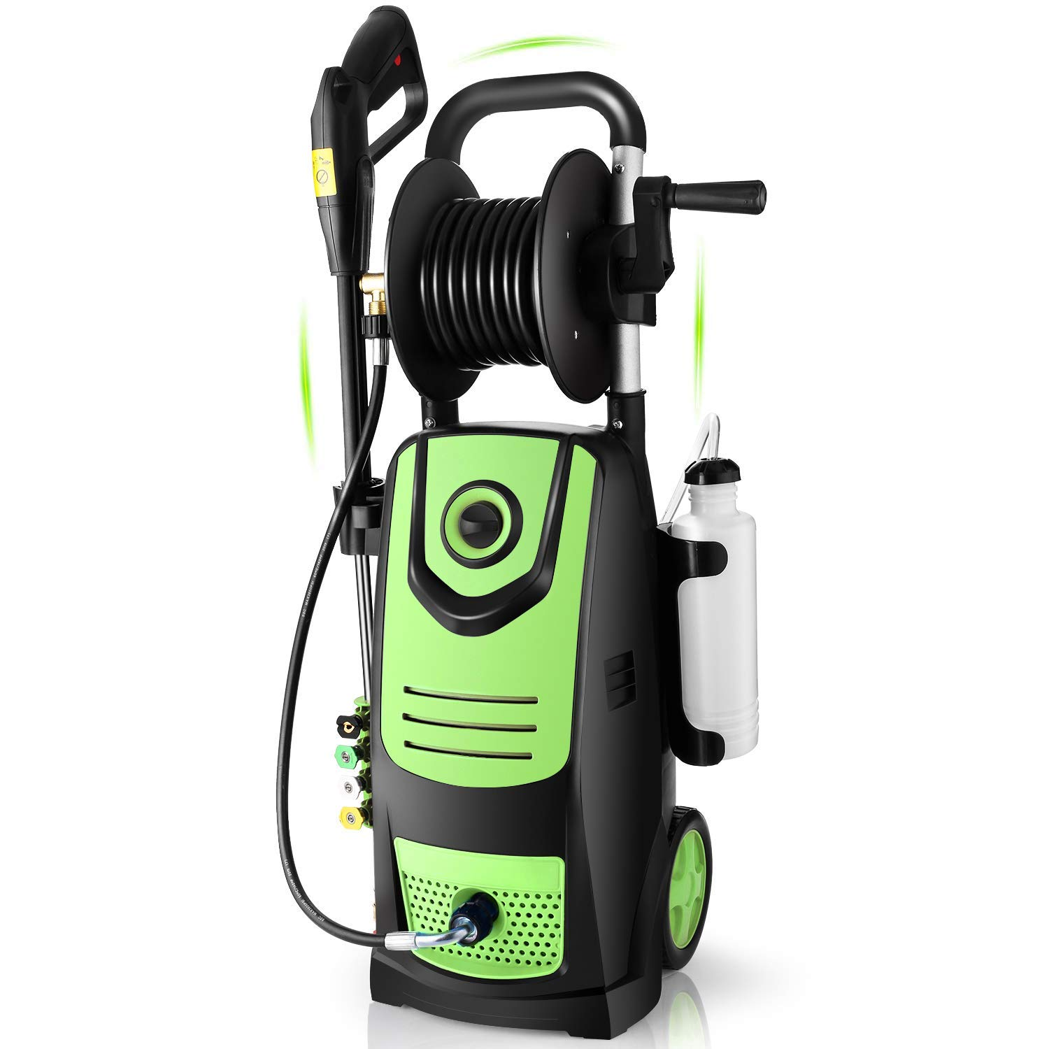 Suyncll 3800 PSI 2.8GPM Electric Pressure Washer Electric Power Washer with Soap Bottle and Hose Reel (Green)