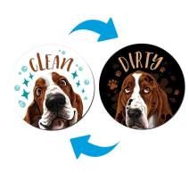WIRESTER 3.5 inch Clean Dirty Sign Double-Sided Magnet Flip Decoration for Kitchen Dishwasher Washing Machine, Basset Hound Dog
