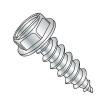 """Steel Sheet Metal Screw, Zinc Plated, Hex Washer Head, Slotted Drive, Type A, #6-18 Thread Size, 1-1/4"""" Length (Pack of 100)"""