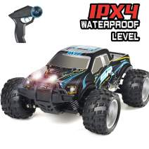 DOUBLE E RC Car 4WD High Speed Off Road Remote Control Truck 2.4GHz Head Lights 800mah Battery for Boy Girls Kids, Blue