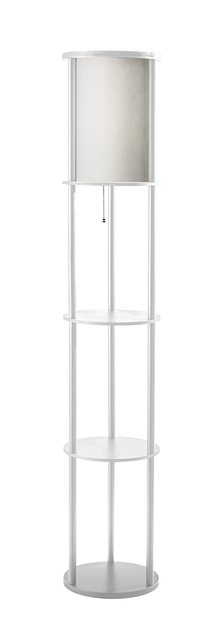 Adesso 3117-02 Stewart Round Shelf Floor Lamp, White Base Finish