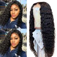 Deep Curly Lace Front Wigs Human Hair Wigs 4x4 Lace Closure Wigs 10A Brazilian Hair Lace Wig with Baby Hair 150% Density Pre Plucked Natural Hairline for Black Women(16 Natural Color)