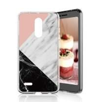 TJS Phone Case for LG K10 2018/K30/Premier Pro LTE/Harmony 2/Phoenix Plus/Xpression Plus, Slim TPU Matte Color Marble Transparent Clear Soft Skin Drop Protector Back Cover (Pink White Black)