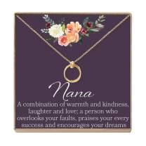 Dear Ava Nana Gift Necklace: Nana Jewelry, for Grandma, Grandmother, 2 Linked Circles