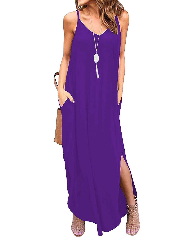 DUOSTICK Womens Summer Dresses Strap Cover Up Sleeveless V Neck Sexy Split Beach Maxi Dress - XS, Purple