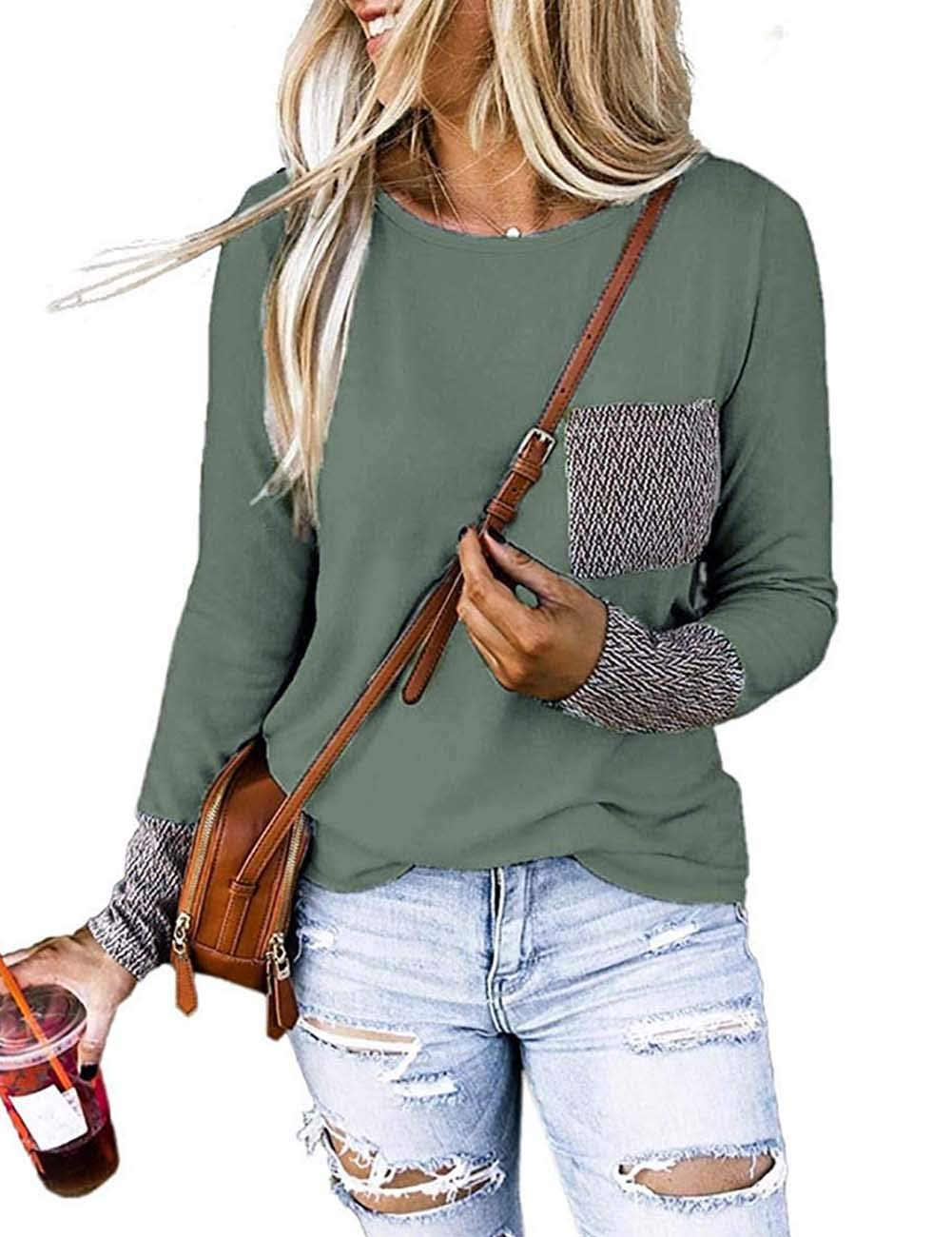 MEROKEETY Womens Long Sleeve Shirts Chevron Print Patchwork Pockets Casual Pullover Tops