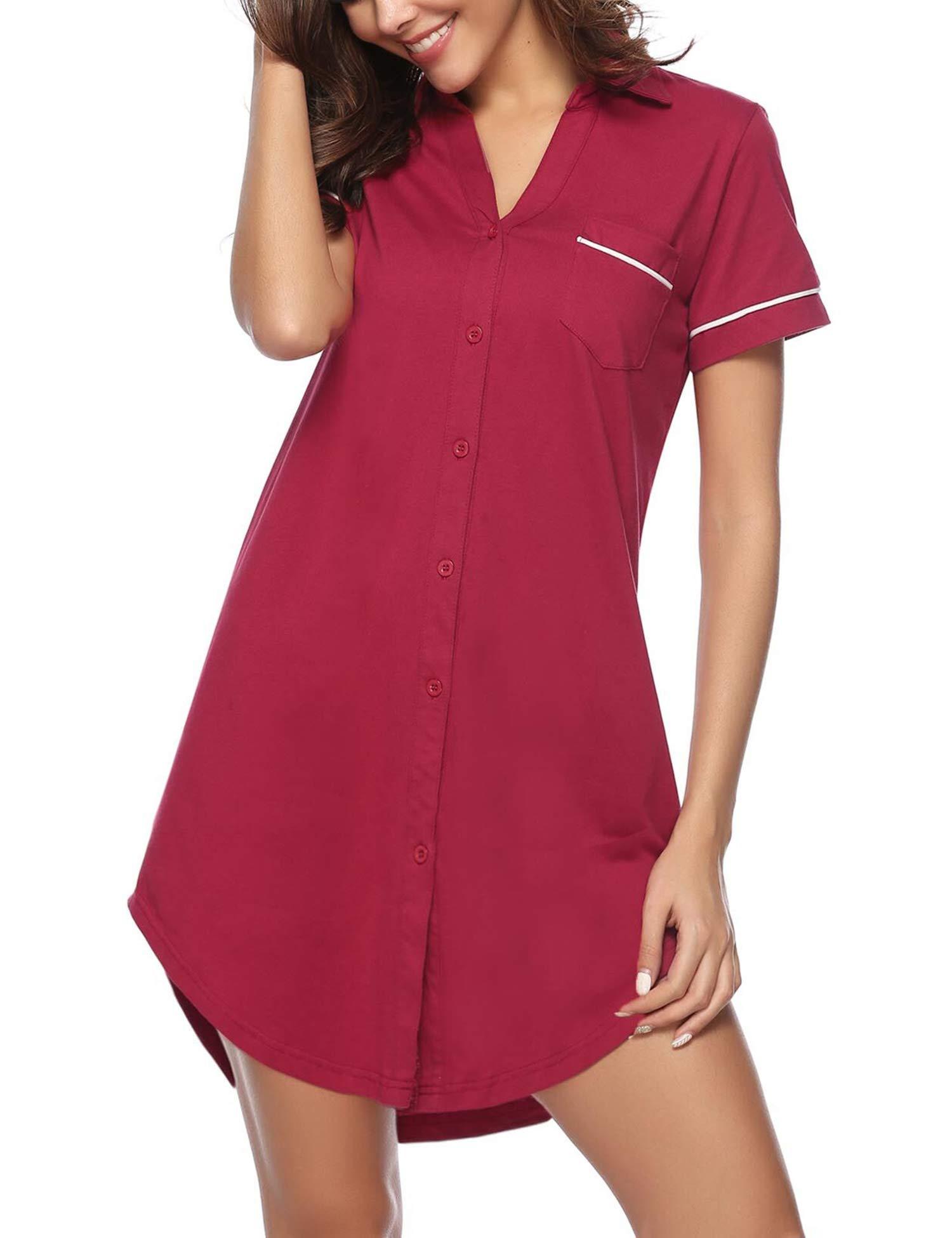 Hawiton Women V Neck Nightshirt Short Sleeve Nightgown Button Front Pajamas Dress Shirts (Cotton-Red, Medium)