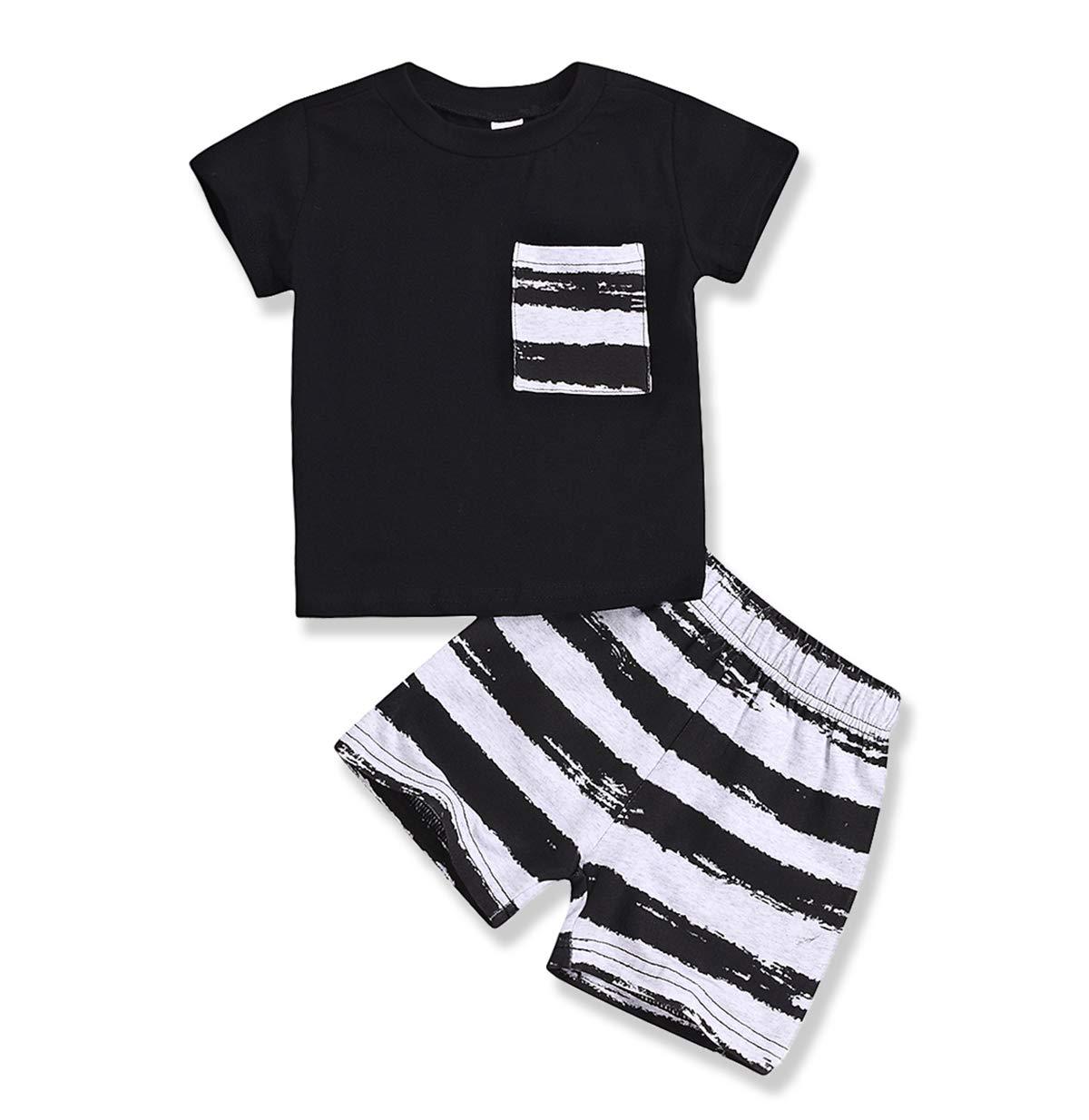 Toddler Baby Boys Short Sets Stripe Pocket T-Shirt Top Fashion Short Summer  Outfits Dinosaur Print Cotton Clothes Sets