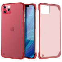 ATRAING iPhone 11 Pro case Clear Matte Thin Shockproof Durable Hard PC Soft TPU Frameless with Ring (Red)