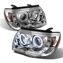For Toyota Tacoma Pickup Chrome Clear Dual CCFL Halo Ring Projector LED Replacement Headlights Lamps Set