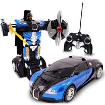 Family Smiles Kids RC Toy Car Transforming Robot Remote Control with One Button Transformation, Realistic Engine Sounds, 360 Speed Drifting, Sword and Shield Included Toys for Boys 1:22 Scale Blue