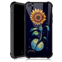 iPhone 6s Case,Earth Sunflower Starry iPhone 6 Cases for Girls,Tempered Glass Back Cover Anti Scratch Reinforced Corners Soft TPU Bumper Shockproof Case for iPhone 6/6s Space Yellow