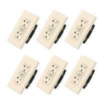 Matte Light Almond ELEGRP 20 Amp GFCI Outlet, 5-20R GFI Receptacle, TR Tamper Resistant with LED Indicator, Self-Test Ground Fault Circuit Interrupters, Wall Plate Included, UL Listed (6 Pack)