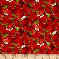Elizabeth's Studio Berry Good Packed Strawberries Red Fabric By The Yard