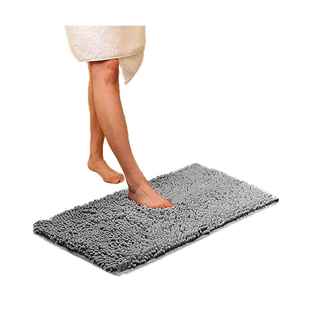 "Eanpet Chenille Bath Mat Non-Slip Microfiber Floor Mat Baby Bath Mat for Kids Ultra Soft Washable Bathroom Dry Fast Water Absorbent Shower Mat Area Rugs (16"" x 24"", Light Grey)"
