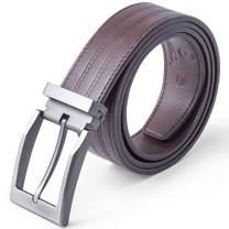 "Men's Cow Leather Embossed Belt Casual Belts 1-3/8"" Wide Dress Prong Buckle Adjustable"