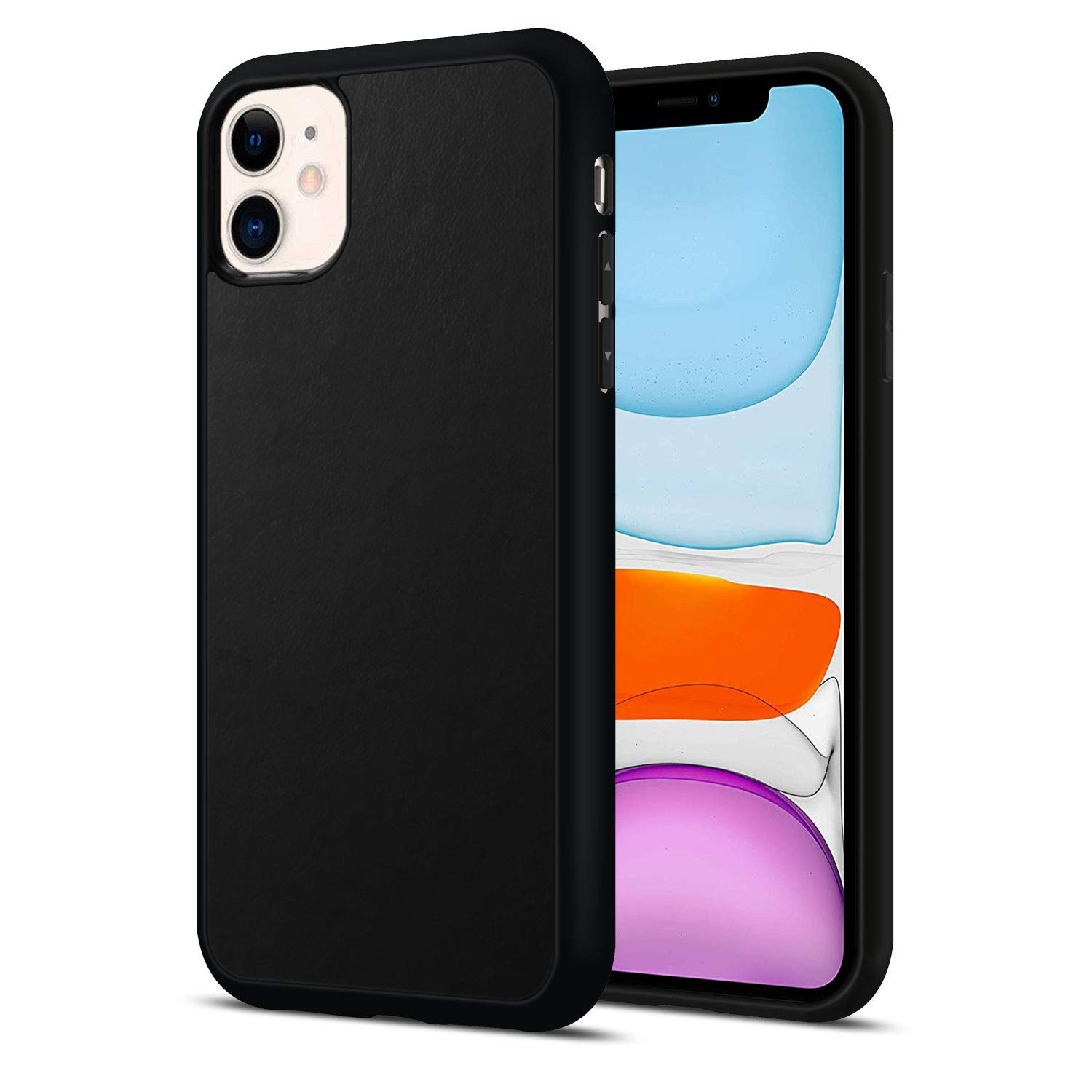 JuBeCo iPhone 11 Case,Calfskin Genuine Leather with Flexible TPU Bumper, Full-Body Protection,Slim Elegant Hybrid Case for iPhone 11 6.1inch -Black Leather