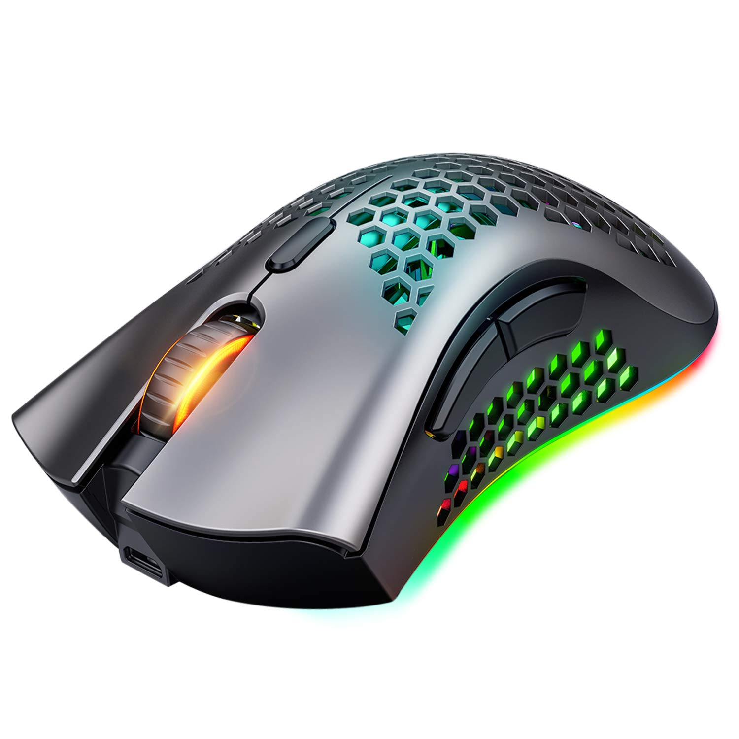 Wireless Gaming Mouse, Rechargeable Gaming Mouse, 7 Programmed Buttons with Silent Click, USB Receiver, Ergonomic RGB Optical Sensor Lightweight Honeycomb Shell Mouse for Computer, Laptop, PC