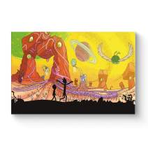 """HAOSHUNDA HSD Wall Art Rick and Morty Posters On Canvas Oil Painting Posters and Prints Decorations Wall Art Picture Living Room Wall Ready to Hang 12"""" x 18"""" 16"""" x 24"""" (16""""x24""""x1, Artwork-14)"""