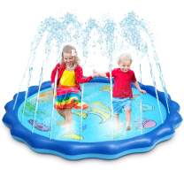 """OMWay Water Sprinkler for Kids, Splash Pad for Toddlers,2020 New 69"""" Outdoor Inflatable Pool Learning Toys for Boys Girls Age 2 3 4 5 6 7 8 9 10,Birthday Gifts Ideas."""