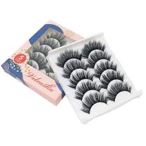 Veleasha Silk Lashes Strip 5 Pairs Faux Mink Eyelashes with Volume for Women's Makeup Natural Look 3D Eyelashes (HALO)