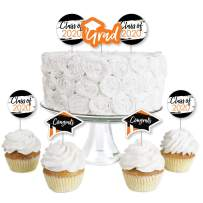 Big Dot of Happiness Orange Grad - Best is Yet to Come - Dessert Cupcake Toppers - Orange 2020 Graduation Party Clear Treat Picks - Set of 24