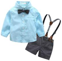 SANGTREE Baby & Little Boy Tuxedo Outfit, Dress Shirt + Suspender Shorts